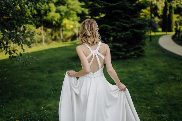A beautiful bride wearing wedding dress
