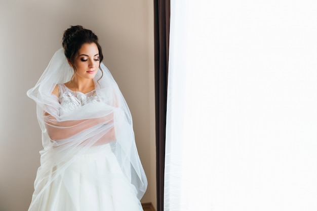 Beautiful bride in wedding dress and bridal veil embraces hersel