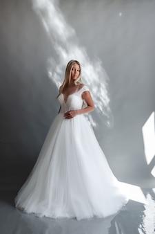 Beautiful bride wedding hairstyle and make up fashion wedding dress