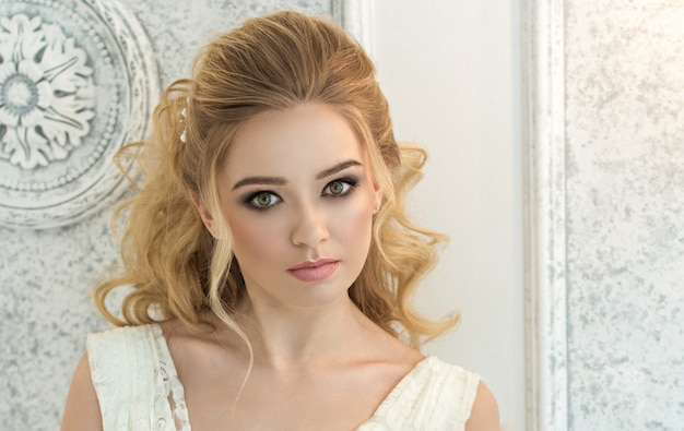 Beautiful bride. wedding hairstyle and make up.