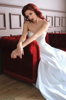 Beautiful bride in white wedding dress