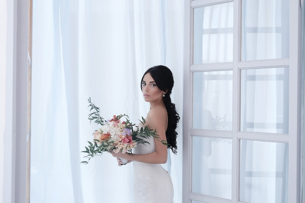 Beautiful bride with white dress