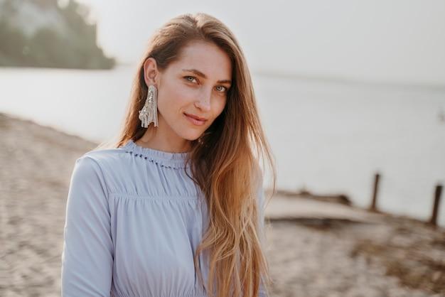 Beautiful bridesmaid portrait at a beach wedding