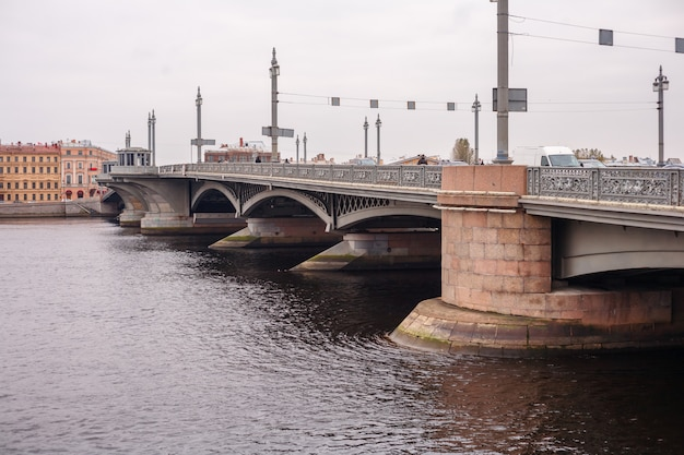 Beautiful bridge over the neva river in st. petersburg
