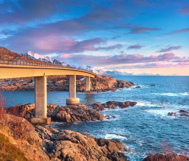 Beautiful bridge at sunrise in lofoten islands