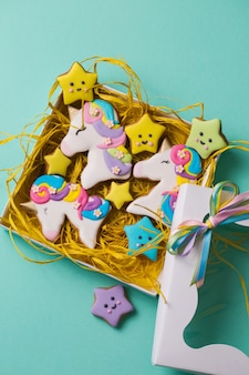 Beautiful bright figured gingerbread cookies for the holiday in a gift box