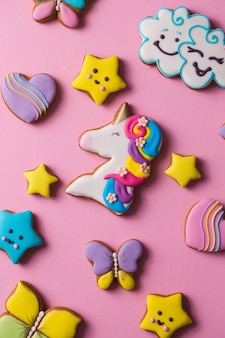 Beautiful bright figured gingerbread cookies for the holiday