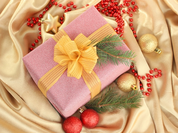 Beautiful bright gift and christmas decor, on silk cloth