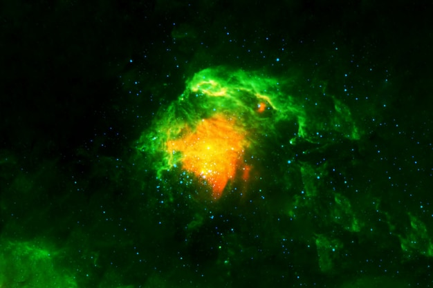 A beautiful, bright green nebula. elements of this image were furnished by nasa. high quality photo