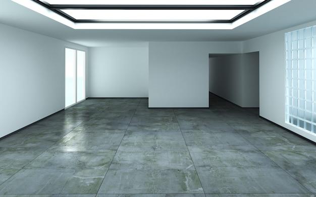 쪽모이 세공 마루 바닥으로 장식 된 태양 빛 통과와 아름 다운 밝은 방