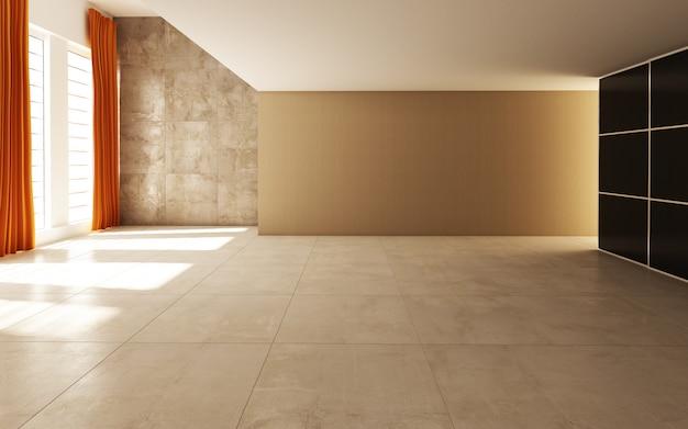 커튼과 타일로 장식 된 태양 빛이 통과하는 아름다운 밝고 따뜻한 방