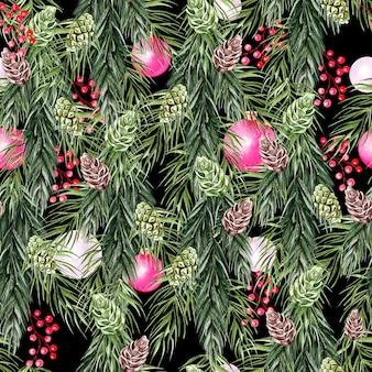 Красивый яркий акварельный новогодний узор с сосновыми шишками, сосновыми ветками и игрушками.