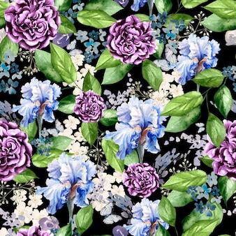 Красивый яркий акварельный узор с цветами ириса, пиона и лаванды. иллюстрация