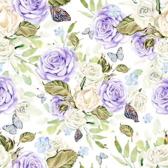 Beautiful bright watercolor pattern with flowers and roses