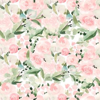 장미와 잎이 있는 아름다운 밝은 수채색 패턴입니다. 삽화