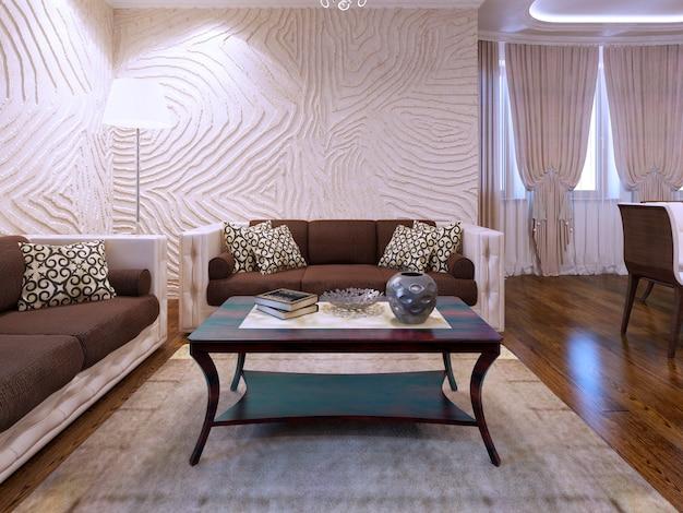 거실에서 아름다운 갈색 가구. 울 카펫과 광택이 나는 쪽모이 세공 마루 바닥. 웨이브 질감 벽. 3d 렌더링