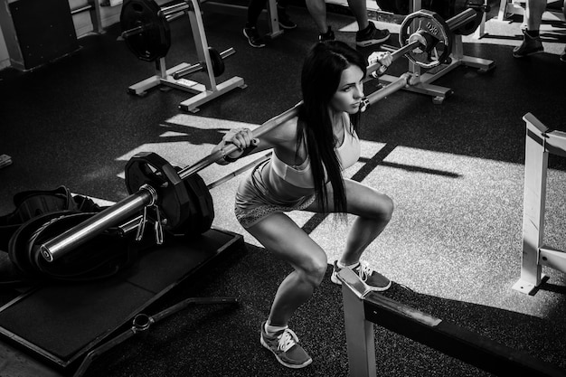 Beautiful brunette during workout