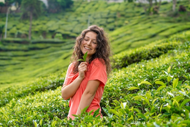 Beautiful brunette girl posing in the middle of the tea valley between green tea bushes.