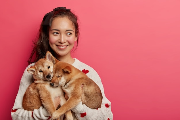 Beautiful brunette woman plays with two shiba inu dogs, looks away, thinks how to feed pets and teach commands, expresses caress, isolated on pink background.