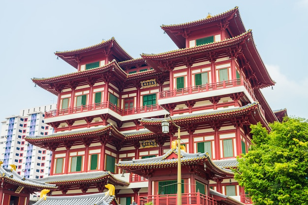 Beautiful buddha tooth temple at singapore