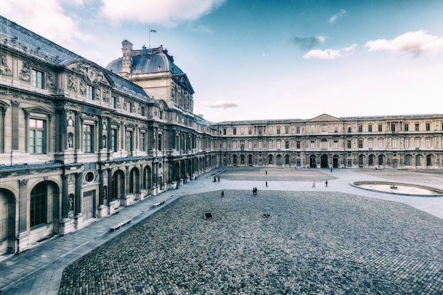 Beautiful  building of louvre palace and in paris, france
