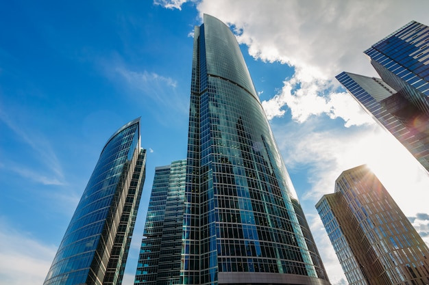 Beautiful buildings of moscow city with cloudy sky