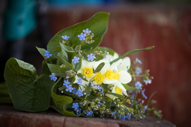 Beautiful bunch of garden flowers of forget me not and narcissus on the wooden background