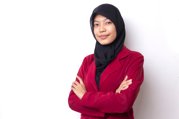 Beautiful business asian woman with hijab portrait on white space