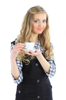 コーヒー カップを保持している美しい実業家
