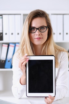 Beautiful businesswoman wearing glasses