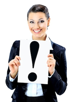 Beautiful businesswoman with a sign exclamation mark. isolated on a white background.