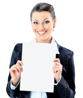 Beautiful businesswoman with a white banner. isolated on a white background.