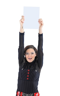Beautiful businesswoman with a white banner isolated on a white background
