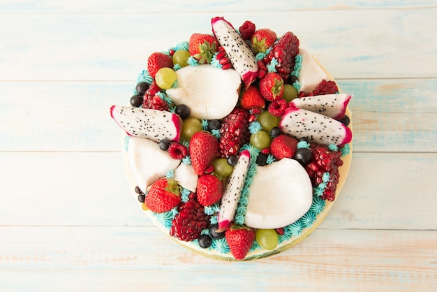 Beautiful cake with berries and fruit. the view from the top