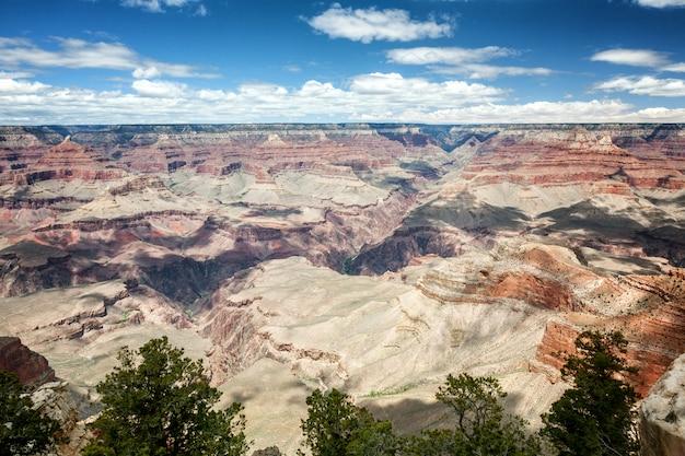 Beautiful canyon landscape, red rocks, blue sky, sunny