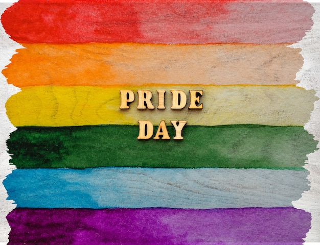 Beautiful card with drawing of the rainbow flag