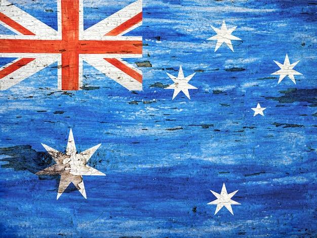호주 국기의 이미지와 함께 아름다운 카드. 클로즈업, 위에서 볼 수 있습니다. 휴일 개념.