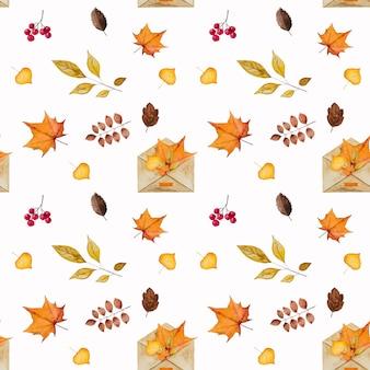 수채화로 그린 가을 테마에 다양한 그림이있는 아름다운 카드. 클로즈업, 위에서보기