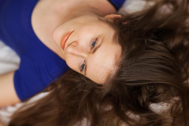 Beautiful caucasian girl lying
