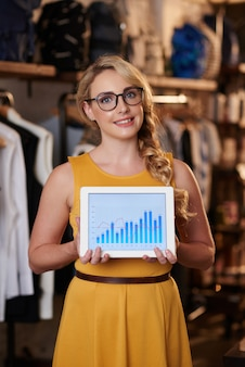 Beautiful caucasian lady posing in boutique and showing tablet with sales graph