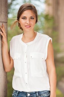 Beautiful caucasian woman in casual outdoors