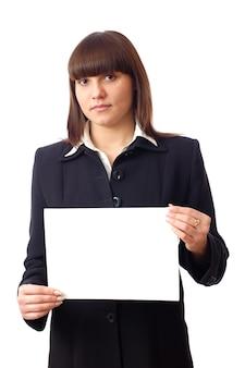 Beautiful caucasian woman secretary holds notice or blank on hand