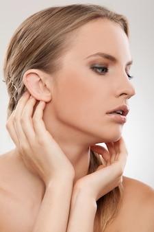 Beautiful caucasian woman with natural makeup