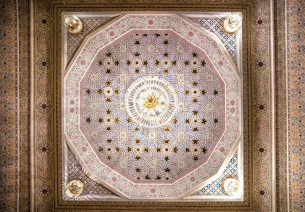 Beautiful ceiling with islamic traditional religious ornament.
