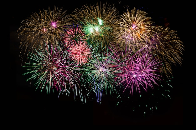 Beautiful celebration golden, red, purple, green sparkling fireworks