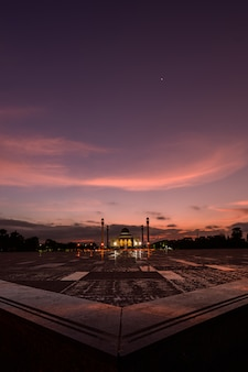 Beautiful central mosque with sunset in songkla , songkla province, thailand