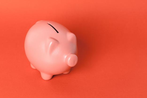Beautiful ceramic piggy coin bank, money savings concept