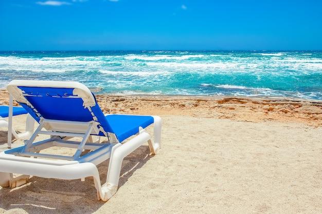 自然の表面の海沿いの美しい長椅子