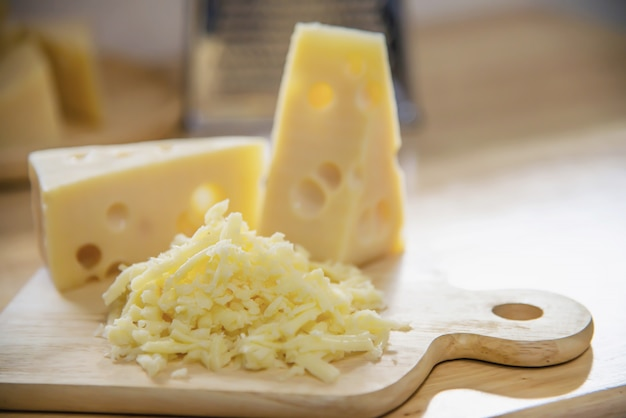 Beautiful cheeses in the kitchen - cheese food preparing concept