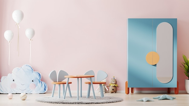 Beautiful children room interior with pink wall, colorful furniture and soft toys